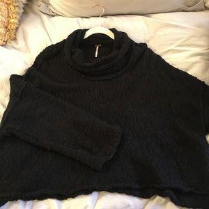 Free People Black Cowl Neck Sweater
